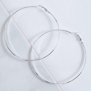 Bold Large Silver Hoop Earrings, New